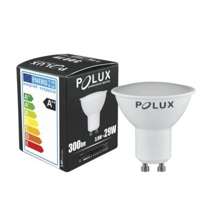 Żarówka LED SMD 3,8W 29W gwint GU10 300lm ciepła/żółta barwa światła POLUX/SANICO - wysyłka 24h (na stanie 7 sztuk)