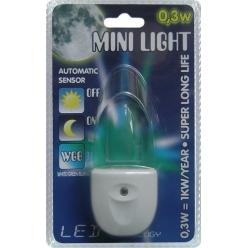 Lampa do gniazdka MINI LIGHT 1X0,3W LED Biały/Niebieski/Zielony 1613 - wysyłka 24h (na stanie 1 sztuka)