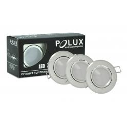 Zestaw 3 oczek SUN LED GU10 3x3,5W 305275 Srebrny szczotkowany POLUX - wysyłka 24h (na stanie 16 zestawów)