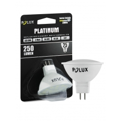 Żarówka POLUX LED SMD 3W 25W gwint MR16 250lm zimna/biała barwa światła - Wyprzedaż 2 szt