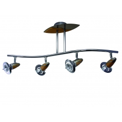 Plafon ZEUS 4X40W E14/R50 NIKIEL Satyna/Chrom/Drewno 345