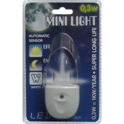 Lampa do gniazdka MINI LIGHT 1X0,3W LED Biały 1610