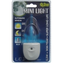 Lampa do gniazdka MINI LIGHT 1X0,3W LED Niebieski 1611