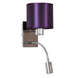 Kinkiet fioletowy / chrom z wyłącznikiem E14 + LED Sylwana Candellux 21-29348