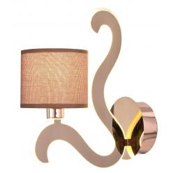 Kinkiet miedziany tkany abażur świecące ramię LED Ambrosia Candellux 21-33499