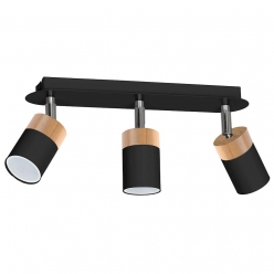 Lampa sufitowa JOKER BLACK/WOOD 3xGU10