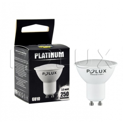 Żarówka POLUX LED SMD 3W 36W gwint GU10 250lm ciepła/żółta barwa światła POLUX/SANICO - wysyłka 24h (na stanie 30 sztuk)