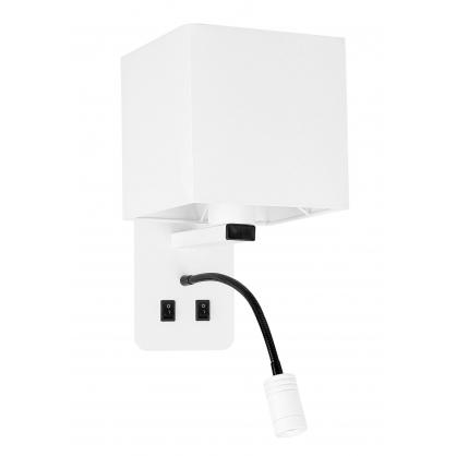 Kinkiet biały hotelowy z lampką do czytania LED Magnum Candellux 21-75666