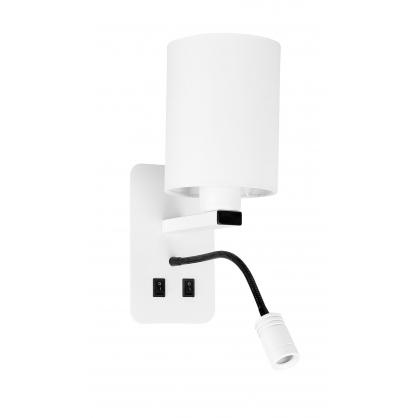 Kinkiet biały hotelowy z lampką do czytania LED Magnum Candellux 21-75673