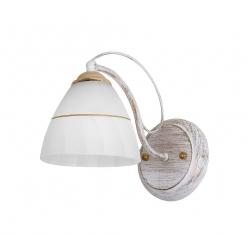 Kinkiet biało-złoty rustykalny szklany klosz 60W E27 Fanetta Candellux 21-77042