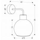 Kinkiet czarny lampa ścienna klosz szklany dymiony 40W E27 Lady Candellux 21-76700